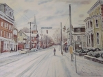 Looking toward the west along Main Street from Academy Street. A beautiful watercolor by Delaware artist James McGlynn.